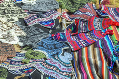 A variety of souvenirs made of Peruvian wool. Stock Images