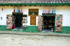 Variety of Souvenirs in a traditional Shop in Paramo, Colombia royalty free stock photography