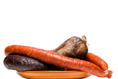 Variety of spanish pork sausages Royalty Free Stock Image