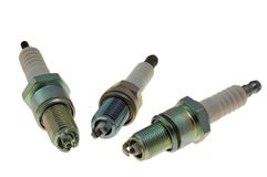 Variety of spark plugs Stock Photos