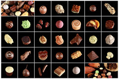 Variety of special chocolates. A variety of single chocolate pralinés Royalty Free Stock Photos