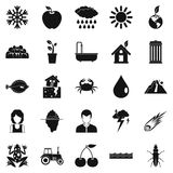 Variety of species icons set, simple style. Variety of species icons set. Simple set of 25 variety of species vector icons for web isolated on white background Stock Photo