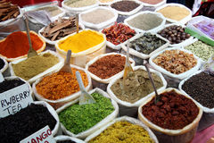 Variety of spices at Anjuna flea market in Goa, India Royalty Free Stock Photography