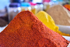 Variety of spices on the arab street market stall Stock Photo