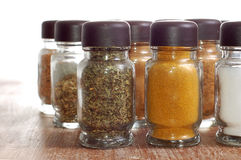 Variety of spices in bottles Stock Images