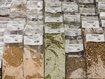 Variety of spices displayed. Royalty Free Stock Photos