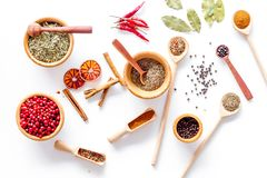 Variety of spices and dry herbs in bowls on white kitchen table background top view pattern Stock Image