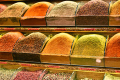 Variety of spices on the Grand Bazaar in Istanbul, Turkey Stock Photos