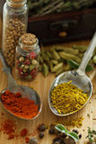 Variety of spices and herb on a wooden board Royalty Free Stock Photography