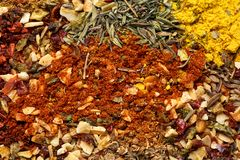 A variety of spices and herbs close-up. Food background. stock images