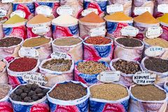 Variety of spices and herbs on the market Royalty Free Stock Photo