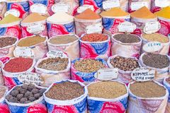 Variety of spices and herbs on the market Royalty Free Stock Photos