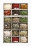 Variety of spices and herbs in wooden box Royalty Free Stock Image
