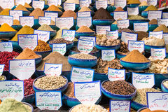 Variety of spices on the Iranian market in Shiraz Royalty Free Stock Photo