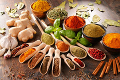 Variety of spices on kitchen table Royalty Free Stock Photography