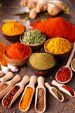 Variety of spices on kitchen table Royalty Free Stock Photos