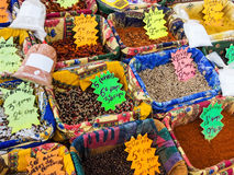 Variety of spices on the market Stock Images