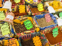 Variety of spices on the market Royalty Free Stock Image