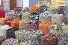 Variety of spices on the old souk royalty free stock photography