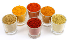 Variety of spices powders Stock Photo