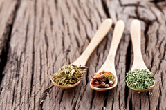 Variety of spices in the spoons. Stock Photo