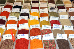 Variety of spices on turkish market Royalty Free Stock Image