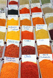 Variety of spices on turkish market Stock Photos
