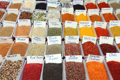 Variety of spices on turkish market Stock Photo