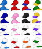 A variety of sports caps Royalty Free Stock Photos