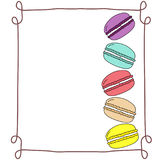Variety of stacked multicolor doodle vector macaroons in hand drawn vintage frame, copy space, template mock up, french pastry Stock Image