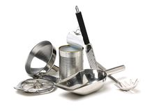 Variety of stainless utensils royalty free stock photos
