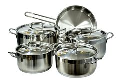 Crockery of stainless steel, isolated stock photo
