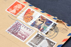 Variety of stamps on envelope Royalty Free Stock Photo