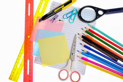 Variety of stationery items isolated Royalty Free Stock Images