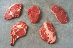 Variety of steaks Royalty Free Stock Photography