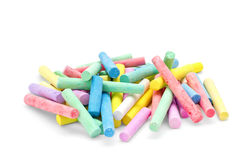 Variety sticks of chalk on white background Stock Images