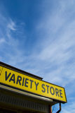 Variety Store generic sign. Generic yellow Variety Store signage with a blue sky background Royalty Free Stock Photo