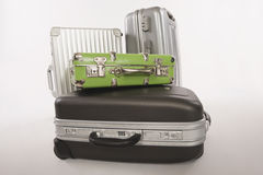 Variety of suitcases and luggage on white background Royalty Free Stock Photo