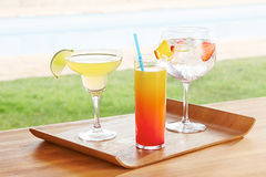 Variety of summer cocktails Stock Photos