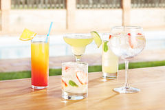 Variety of summer cocktails Royalty Free Stock Image