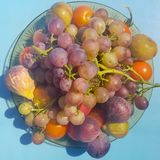 Variety of summer fruits against a blue background Royalty Free Stock Image
