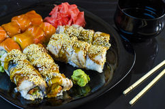 Variety of sushi rolls on a plate Stock Image