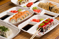 Variety sushi rolls on a table Stock Photography