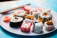 Variety of sushi rolls Stock Images
