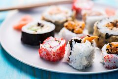 Variety of sushi rolls Stock Photos