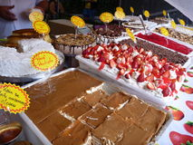 Variety of sweer deserts at the market Royalty Free Stock Images