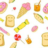 Variety of sweet dessert pattern on white. Background Royalty Free Stock Photography