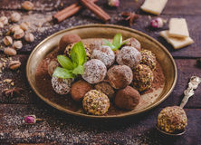 Variety of sweet homemade pralines Stock Photos