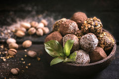 Variety of sweet homemade pralines Royalty Free Stock Photo