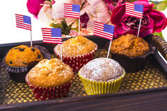 Variety of swiit  desserts on the table for July 4th party. Whit Royalty Free Stock Photography